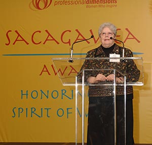 School Sister of St. Francis Kathleen O'Brien receives the Sacagawea Award on Wednesday, March 13, at the Pfister Hotel, Milwaukee, from Professional Dimensions, a Milwaukee business networking organization. Sr. Kathleen, senior vice president for academic affairs at Alverno College, Milwaukee, and, Tina Chang, chairman and CEO of SysLogic, were honored for their trailblazing efforts as Milwaukee businesswomen. (Submitted photo courtesy Alverno College)